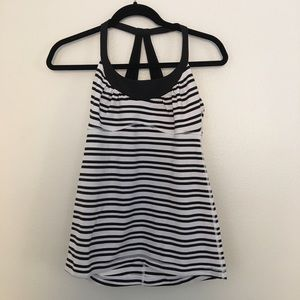 Lululemon Striped Black and White Tank Top
